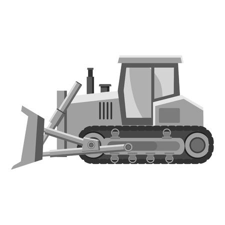 mine site: Bulldozer icon. Gray monochrome illustration of bulldozer vector icon for web