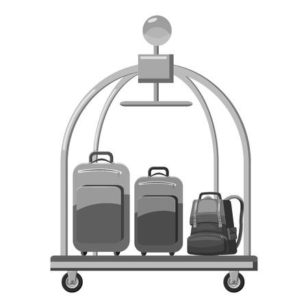 Hotel baggage cart icon. Gray monochrome illustration of hotel baggage cart vector icon for web Illustration