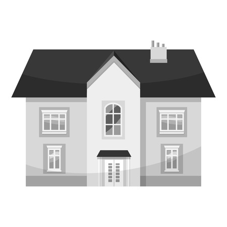 front porch: Two storey house icon. Gray monochrome illustration of two storey house vector icon for web Illustration