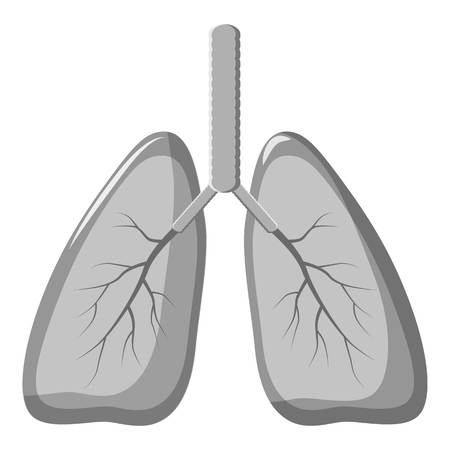 Human lungs icon. Gray monochrome illustration of human lungs vector icon for web