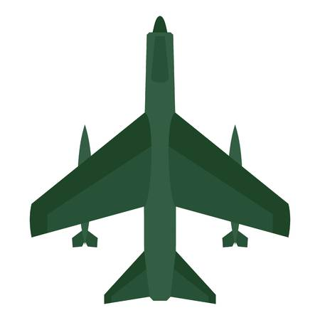 Aircraft with missiles icon. Flat illustration of aircraft with missiles vector icon for web