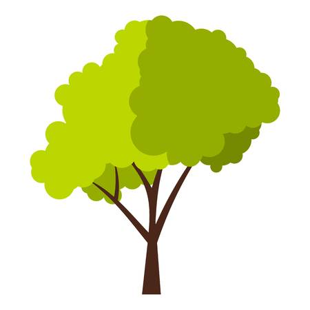 fluffy: Green tree with fluffy crown icon. Flat illustration of green tree with fluffy crown vector icon for web