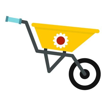 Garden wheelbarrow icon. Flat illustration of garden wheelbarrow vector icon for web
