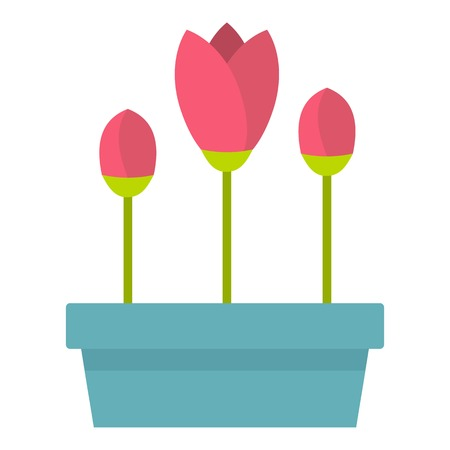 Box with flowers icon. Flat illustration of box with flowers vector icon for web