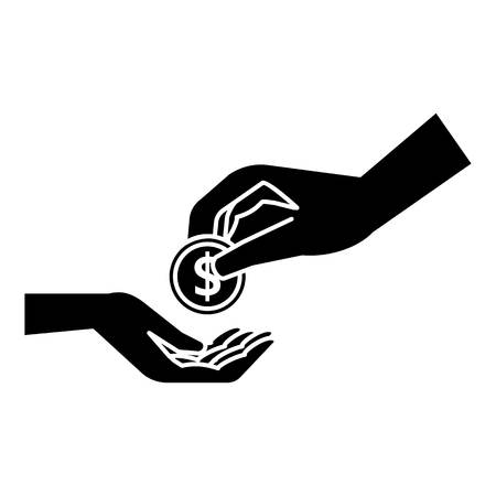 Hands holding coins icon. Simple illustration of hands holding coins vector icon for web Illustration