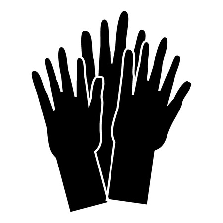 nationalities: Hands of people of different nationalities icon. Simple illustration of hands of people of different nationalities vector icon for web