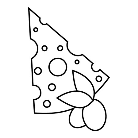 Cheese and olives icon. Outline illustration of cheese and olives vector icon for web Illustration