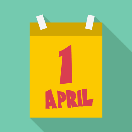 First april calendar icon. Flat illustration of first april calendar vector icon for web Illustration