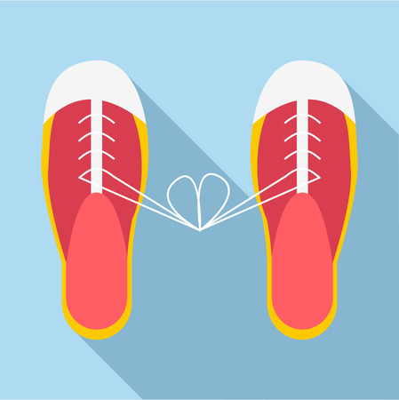 jest: Tied laces on shoes icon. Flat illustration of tied laces on shoes vector icon for web Illustration