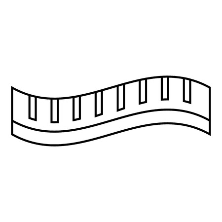 Measuring striped tape icon. Outline illustration of measuring striped tape vector icon for web