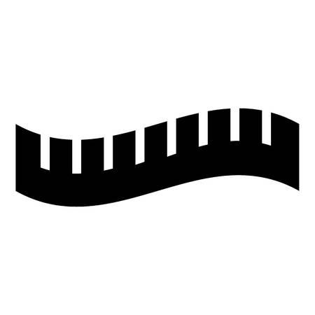 Icona di misurazione nastro a strisce. Illustrazione semplice dell'icona di vettore del nastro a strisce di misurazione per il web
