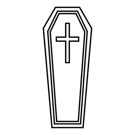 Coffin icon. Outline illustration of coffin vector icon for web Vetores