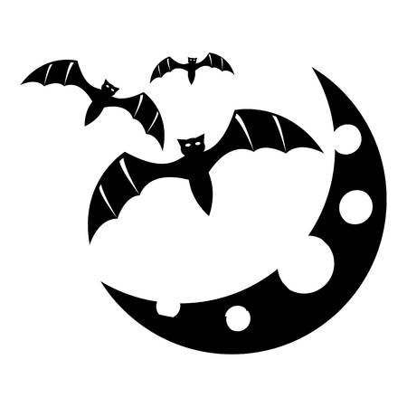 Bats and moon icon. Simple illustration of bats and moon vector icon for web Vector Illustration