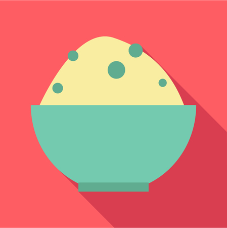 Rice in bowl icon. Flat illustration of rice in bowl vector icon for web
