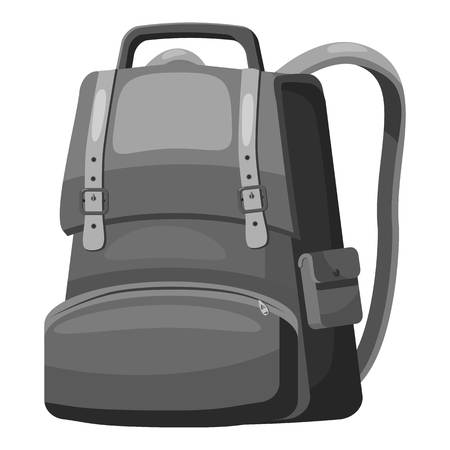 back pocket: School backpack icon. Gray monochrome illustration of school backpack vector icon for web