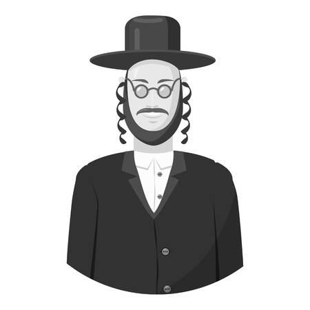 semite: Jew man icon. Gray monochrome illustration of jew man vector icon for web