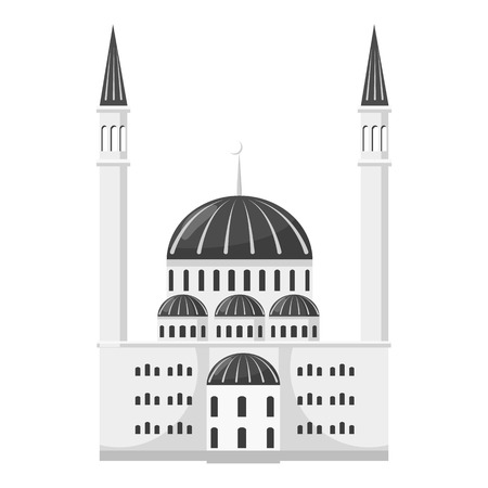 jews: Synagogue icon. Gray monochrome illustration of synagogue vector icon for web