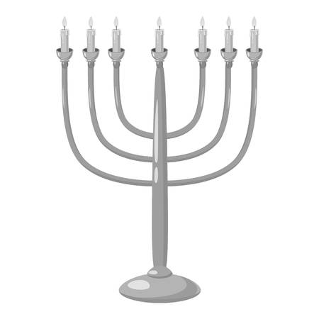 hannukah: Menorah icon. Gray monochrome illustration of menorah vector icon for web