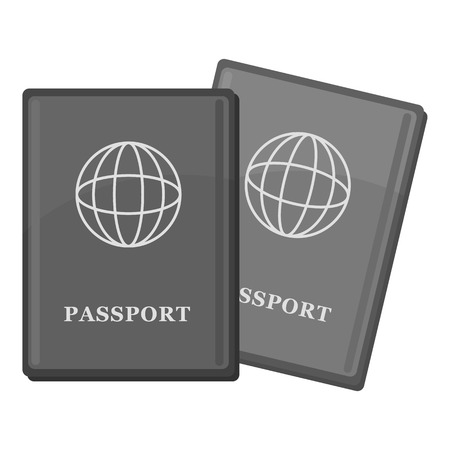emigration: Passport icon. Gray monochrome illustration of passport vector icon for web Illustration