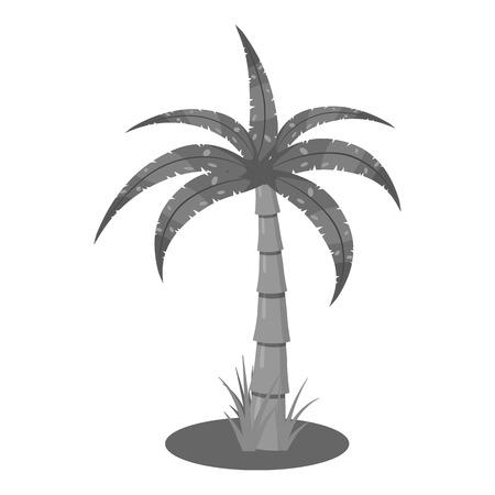 subtropical plants: Palm icon. Gray monochrome illustration of palm vector icon for web