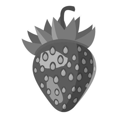 Strawberry icon. Gray monochrome illustration of strawberry vector icon for web Illustration