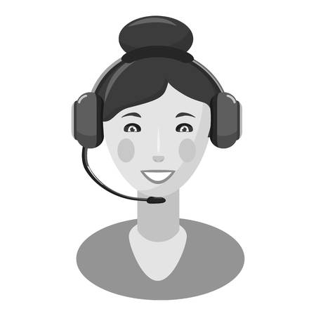 Woman consultant in headphones icon. Gray monochrome illustration of woman consultant in headphones vector icon for web Illustration