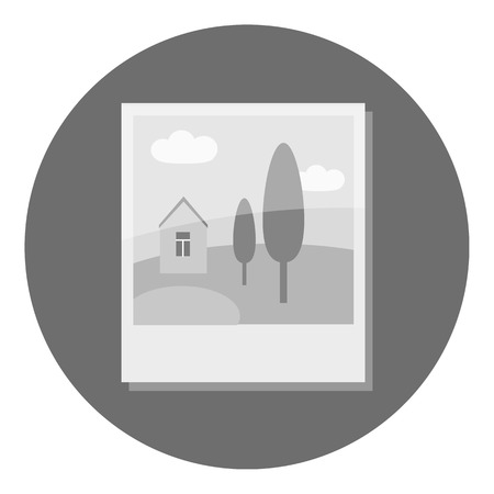 photo card: Photo card icon. Gray monochrome illustration of photo card vector icon for web