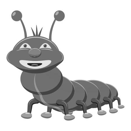 crawling creature: Caterpillar icon. Gray monochrome illustration of caterpillar vector icon for web