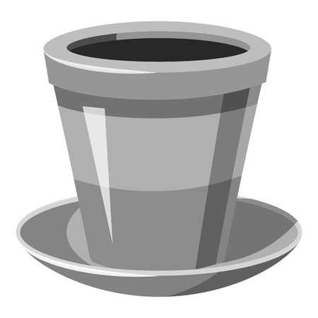 Flower pot icon. Gray monochrome illustration of flower pot vector icon for web