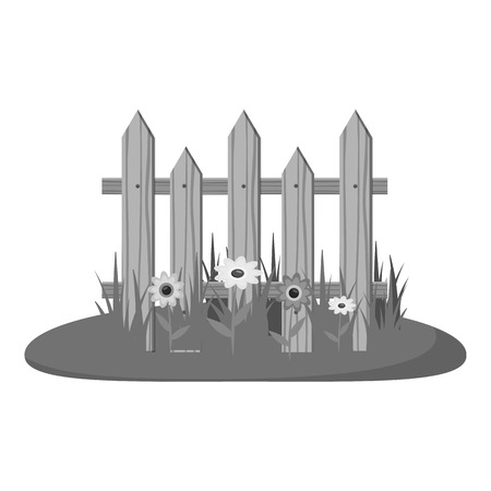 Wooden fence icon. Gray monochrome illustration of wooden fence vector icon for web