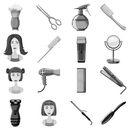Barber icons set. Gray monochrome illustration of 16 barber vector icons for web Illustration