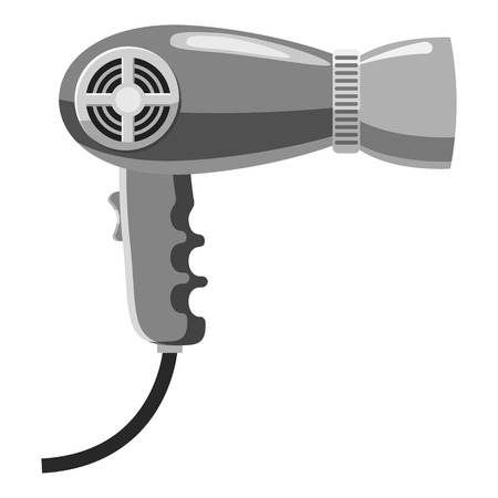 dressing treatment: Hairdryer icon. Gray monochrome illustration of hairdryer vector icon for web