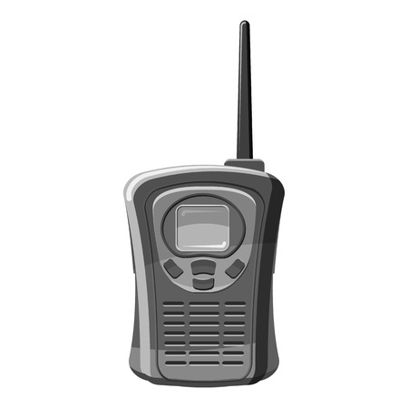simplex: Portable handheld radio icon. Gray monochrome illustration of portable handheld radio vector icon for web
