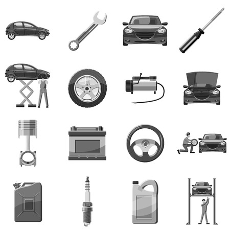 symbol icon: Car service repair icons set. Gray monochrome illustration of 16 car service repair vector icons for web Illustration