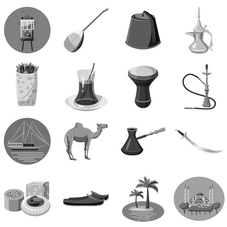 saz: Turkey icons set. Gray monochrome illustration of 16 turkey vector icons for web Illustration
