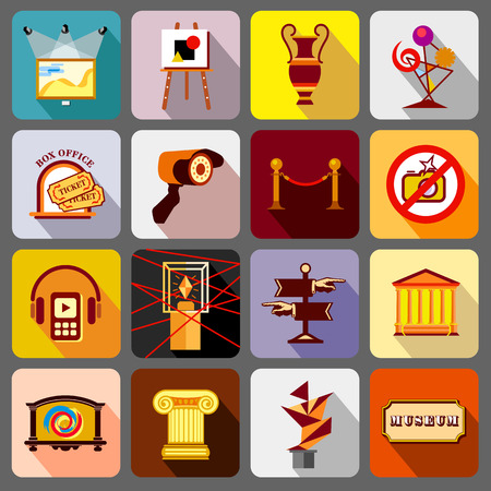 lighting column: Museum icons set. Flat illustration of 16 museum vector icons for web