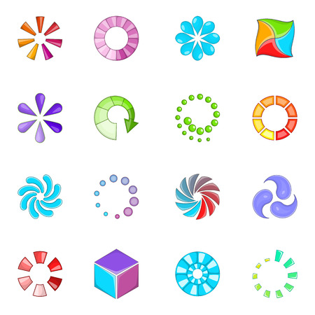 status: Download status icons set. Cartoon illustration of 16 download status vector icons for web