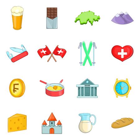 Switzerland travel icons set. Cartoon illustration of 16 Switzerland travel vector icons for web