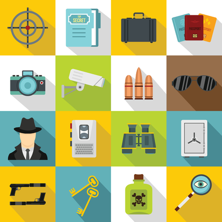 shadowing: Spy tools icons set. Flat illustration of 16 spy tools travel vector icons for web
