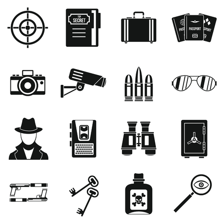 shadowing: Spy tools icons set. Simple illustration of 16 spy tools travel vector icons for web Illustration