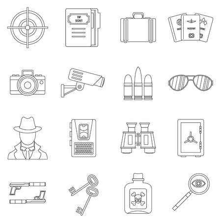 shadowing: Spy tools icons set. Outline illustration of 16 spy tools travel vector icons for web