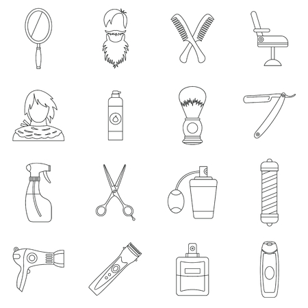 haircutting: Hairdressing icons set. Outline illustration of 16 hairdressing travel vector icons for web