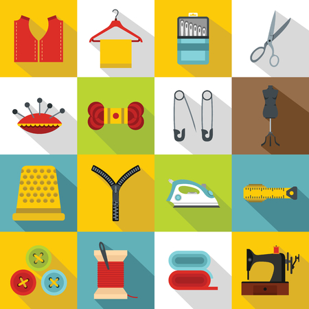 Sewing icons set. Flat illustration of 16 sewing travel vector icons for web