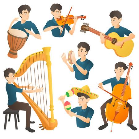 Musician concept set. Cartoon illustration of 7 musician girl vector concepts for web Illustration