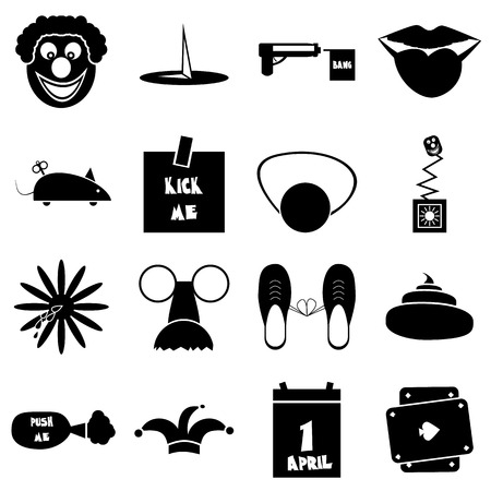 idiot box: April fools day icons set. Simple illustration of 16 April fools day vector icons for web