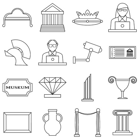 web portal: Museum icons set. Outline illustration of 16 museum vector icons for web
