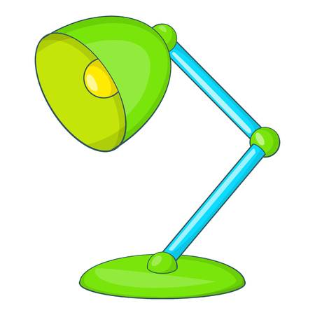Green table lamp icon. Cartoon illustration of lamp vector icon for web design
