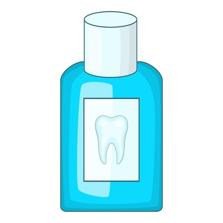 enjuague bucal: Mouthwash bottle icon. Cartoon illustration of mouthwash bottle vector icon for web design