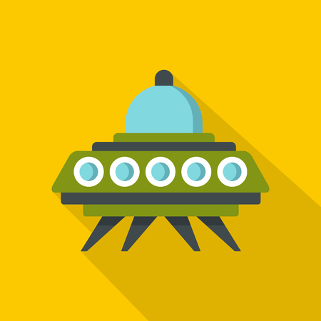 unidentified flying object: Alien spaceship icon. Flat illustration of alien spaceship vector icon for web isolated on yellow background