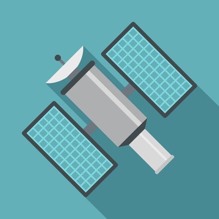 Ikona satelity. Płaska ilustracja satelitarna wektorowa ikona dla sieci odizolowywającej na dziecka błękita tle